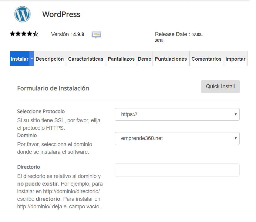 Instalar WP con Siteground   Emprende360.net